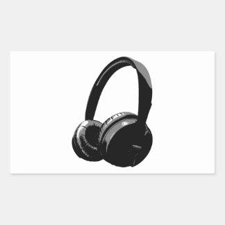 Pop Art Headphone Rectangular Sticker