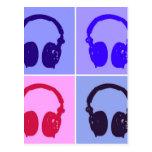 Pop Art Headphones Postcard