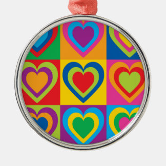 Pop Art Hearts Silver-Colored Round Decoration
