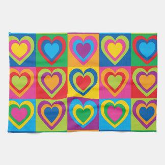 Pop Art Hearts Tea Towel