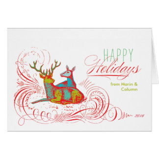 Pop Art Holiday Deer Folded Note Card