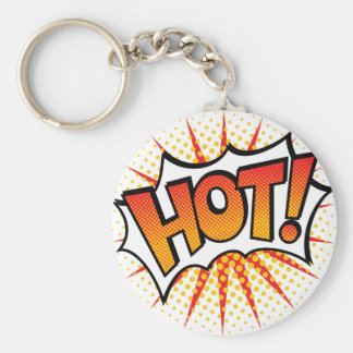 Pop Art HOT! Text Design Key Ring