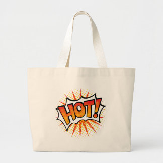 Pop Art HOT! Text Design Large Tote Bag