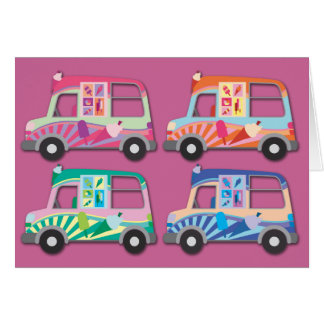 Pop Art Ice Cream Van Pink Card