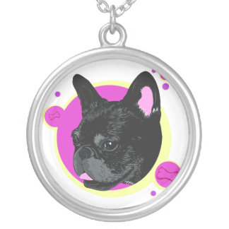 Pop Art Inspired French Bulldog Illustration Silver Plated Necklace