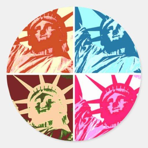 Pop Art Lady Liberty New York City Round Sticker