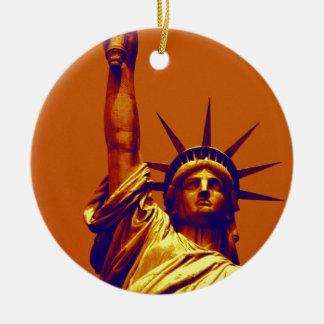 Pop Art Lady Liberty Round Ceramic Decoration