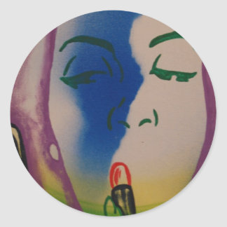 Pop Art Lady with Lipstick Round Sticker