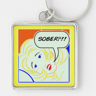 Pop art Lichtenstein style Sober Key Ring