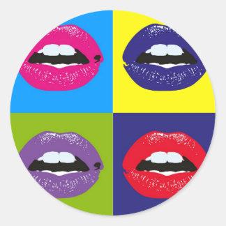 Pop Art Lips Pattern Deisgn Classic Round Sticker