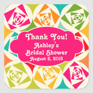 Pop Art Mod Retro Rose Thank You Bridal Shower Square Sticker
