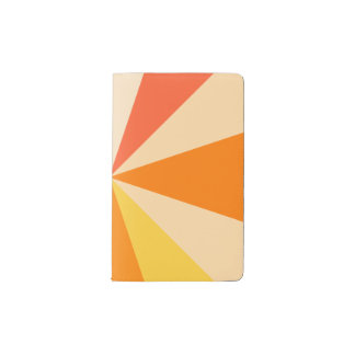 Pop Art Modern 60s Funky Geometric Rays in Orange Pocket Moleskine Notebook