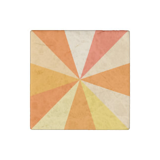 Pop Art Modern 60s Funky Geometric Rays in Orange Stone Magnet