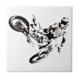 Pop Art Motocross Motorcyle Sport Ceramic Tile