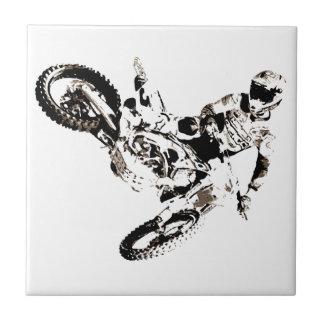 Pop Art Motocross Motorcyle Sport Small Square Tile