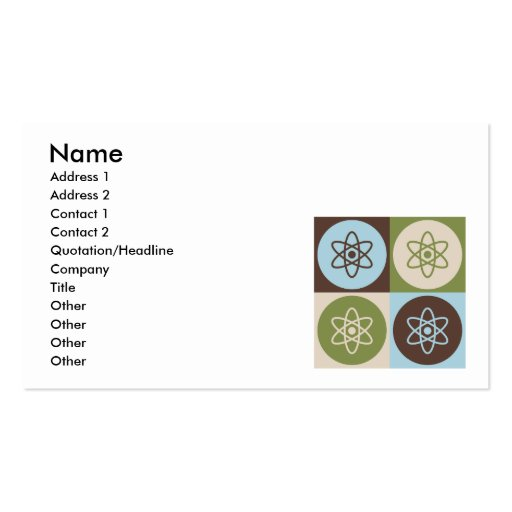 Pop Art Nuclear Physics Business Cards