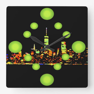 Pop Art NYC Night City New York Square Wall Clock