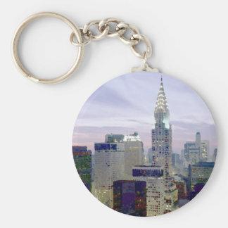 Pop Art Oil Paint Effect New York Basic Round Button Key Ring