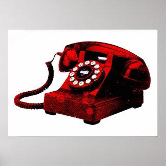 Pop Art Old Red Desk Telephone Box Poster