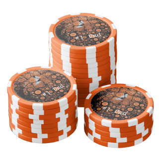 Pop Art Orange Circles Orange Poker Chip