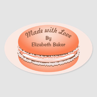 Pop Art Orange Macaron Cookie Personalized Oval Sticker