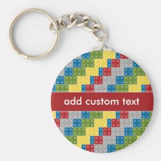 Pop Art Pattern Colorful Bricks for Boys Basic Round Button Key Ring