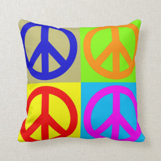 Pop Art Peace Sign Symbol Polyester Throw Pillow