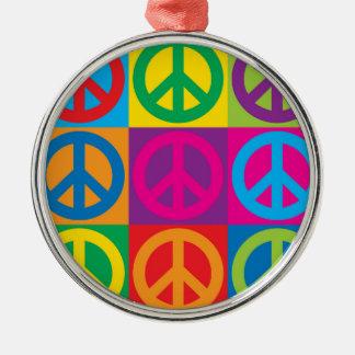 Pop Art Peace Symbols Metal Ornament