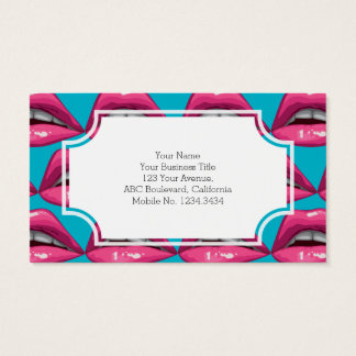 Pop Art Pink Lips Makeup Business Card