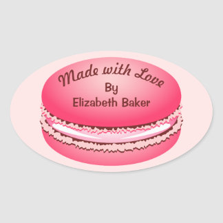 Pop Art Pink Macaron Cookie Personalized Oval Sticker