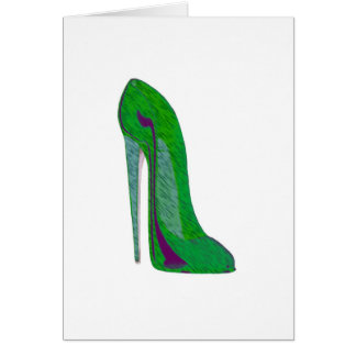 Pop-art purple and green stiletto shoes greeting cards