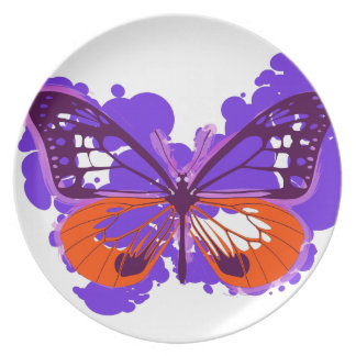 Pop Art Purple Butterfly Plate