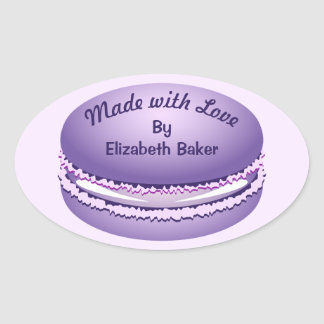Pop Art Purple Macaron Cookie Personalized Oval Sticker