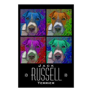 Pop Art Quad Jack Russell Terrier Poster