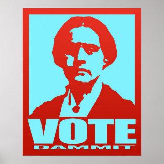 Pop-Art Red & Aqua Vote Dammit Susan B. Anthony Poster