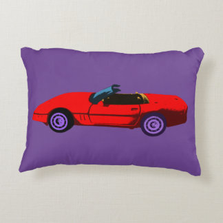 Pop Art Red Corvette Decorative Cushion
