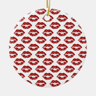 Pop Art: Red Lipstick Kisses Ceramic Ornament