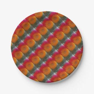 Pop Art Red Orange Gerbera Daisy Mosaic Paper Plate