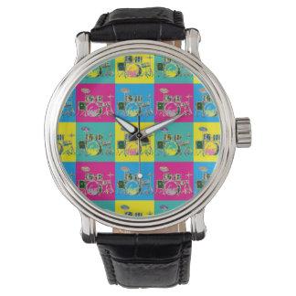 Pop Art Retro Colourful Drum Music Watch
