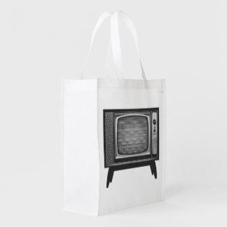 Pop Art Retro Television Set Reusable Grocery Bag