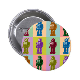 Pop Art Robots 6 Cm Round Badge