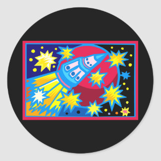 Pop Art Rocket Classic Round Sticker