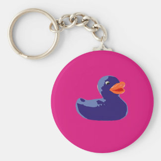 Pop Art Rubber Ducky Blue Pink Duck Basic Round Button Key Ring