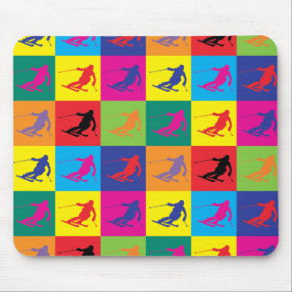 Pop Art Skiing Mouse Pad