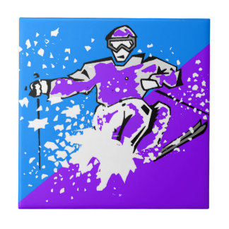 Pop-art Skiing Purple Blue Diagonal Accent Tile