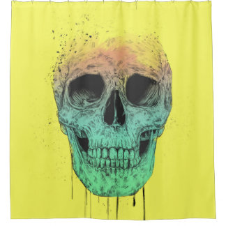 Pop art skull shower curtain