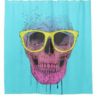 Pop art skull with glasses shower curtain