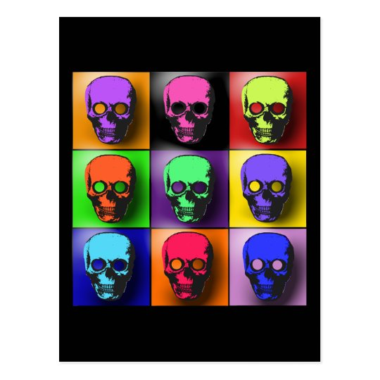 Pop Art Skulls Halloween Design Postcard