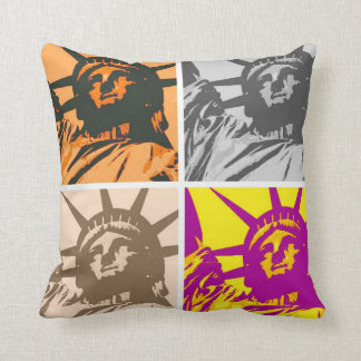 Pop Art Statue of Liberty Four Colors Throw Pillow