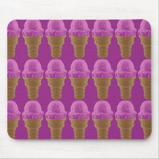 Pop Art Strawberry Ice Cream Cone Mouse Pad